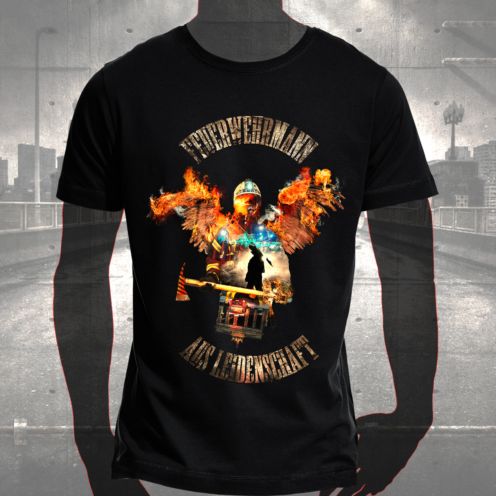 T shirt fire angel hauptstadtfeuerwehr for On fire brand t shirts