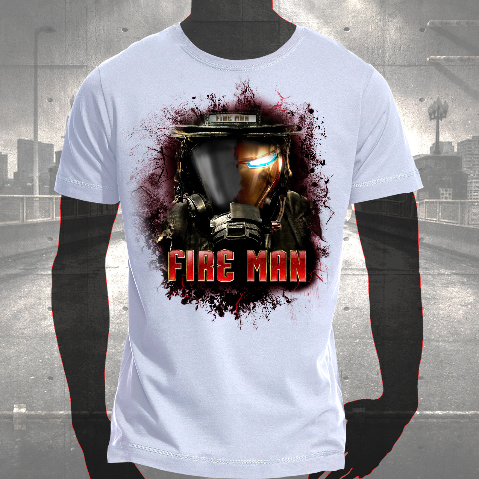 T shirt fire man hauptstadtfeuerwehr for On fire brand t shirts